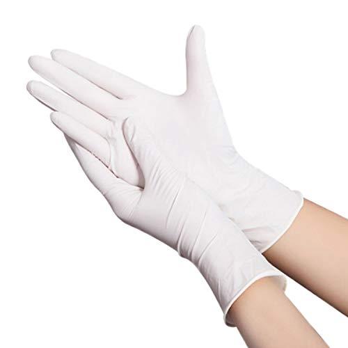 Ywlanlantrading Handschuh Nitril-Industriehandschuh, puderfrei, Einweg, latexfrei, blau, klein, Schachteln mit 100 Stück (Color : White, Size : M)