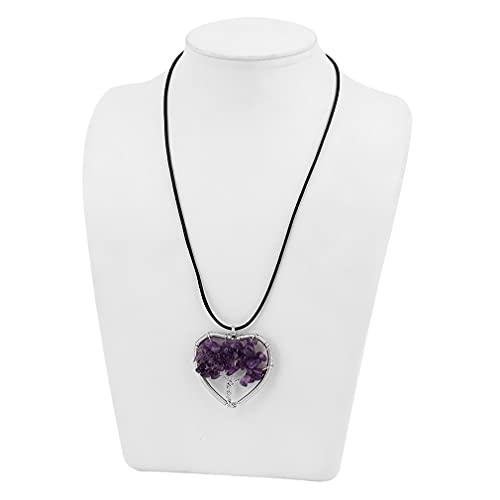 Hanone Corazón de Mujer/ópalo Ovalado/Collar con Colgante de Piedra miscelánea con Cuerda de Piel Violeta corazón de Piedra miscelánea