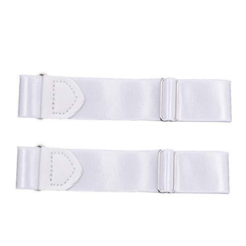 F Fityle 2pcs Brazaletes Ajustables de Los Titulares de La Manga de La Camisa para Hombres Y Mujeres - Blanco, 2,5 cm