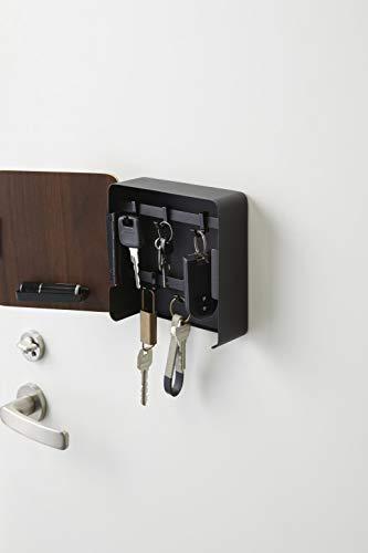 山崎実業(Yamazaki)マグネットキーフック2段ブラウン約W15.8XD15.7XH15.8cmリン2段式鍵収納移動できるフック付き4801