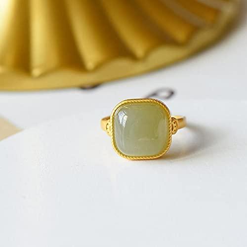 JIUXIAO Anillo de Jade Gris Hetian Natural S925 con Incrustaciones de Plata esterlina de Moda Simple artesanía en Oro Antiguo Regalo de retención de Color Duradero