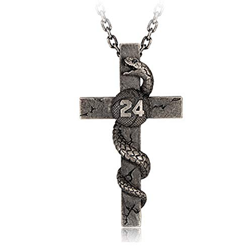 S925 sterling zilveren Black Mamba Kobe Bryant Memorial Corss Ketting verzinkt Punk Rock Casting Pendant Aviation 62 Cm Chain
