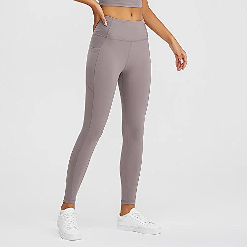 ArcherWlh Leggings Push Up Mujer,Running Sports Fitness Yoga Pantalones de Bolsillo sin Fisuras Paño Slim Medias Mujer Europa-Gris_L