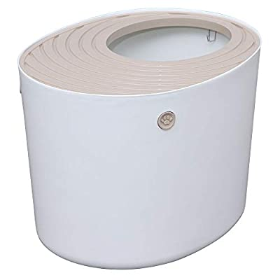Iris Ohyama, Top Entry Cat Litter Box with grooved cover and scoop - PUNT-530 - Plastic, White, 53 x 41 x 37 cm