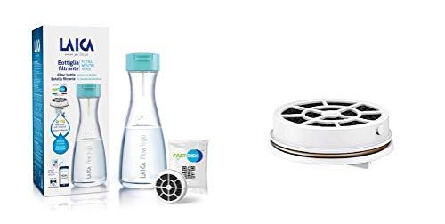 Laica B01BA Bottiglia Filtrante Flow'n Go filtrazione Istantanea (filtra Mentre versi) 1 Filtro Fast Disk 100% Made in Italy Incluso 120 L/1 Mese di Acqua filtrata + Confezione da 6 Filtri Fast Disk