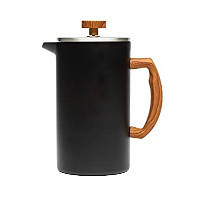 Primula Grant French Press Coffee Tea Maker Insulated Stainless Steel Double Wall Vacuum Sealed, Filtration with No Grounds, 8 Cup, Matte Black