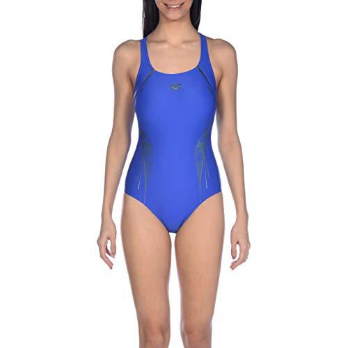 Arena W V Back One Piece Bañador Deportivo Mujer Slinky, Neon Blue-Golfgreen, 42