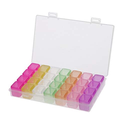 Healifty 28 Grids Diamond Storage Box with Removable Dividers Clear Plastic Jewelry Box Organizer Beads Glitter Container for Necklace Earring (Multicolor)