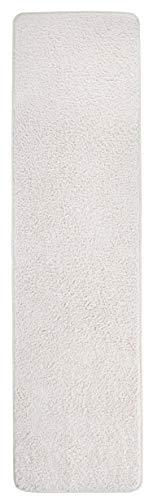 misento Shaggy Hochflor Teppich für Wohnzimmer Langflor, schadstoff geprüft 100 % Polypropylen, creme-weiß 67 x 140 cm