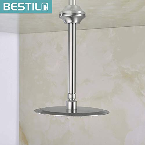 BESTILL 8 Inch Ceiling Mount Shower Arm and Flange, Brushed Nickel