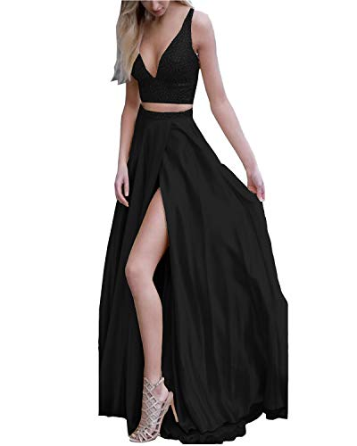 Momabridal Womens Long Satin 2 Piece Beaded Prom Dresses Slit Side Evening Party Formal Gowns Champagne 16