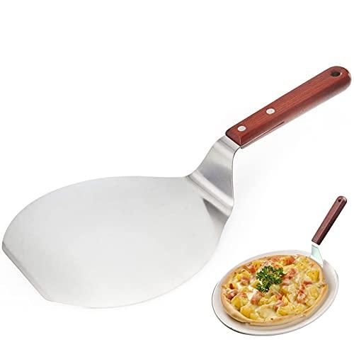 Pala Rotonda per Pizza in Acciaio Inossidabile Pala Per Pizza Pizza accessori Pizza Scoop con Manico in Legno Pala rotonda per Pizza Party, Cake Lifter, per Cuocere Pizza e Torte su Grill