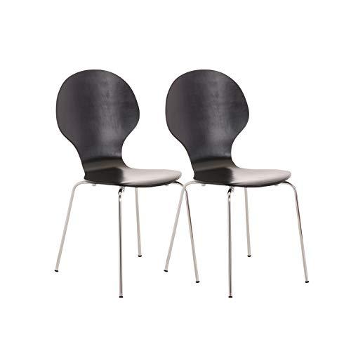 CLP 2X Stapelstuhl Diego I Konferenzstuhl Mit Holzsitz Und Stabilem Metallgestell I 2 x Platzsparender Stuhl Mit Pflegeleichter Sitzfläche, Farbe:schwarz
