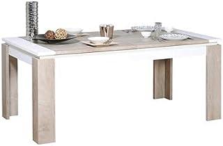 Kasalinea Table à Manger Extensible Couleur chêne et Blanc Moderne Emilie-L 260 x P 100 x H 77 cm- Marron