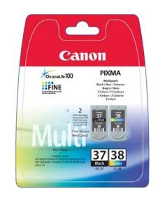 Canon PG-37/CL-38 - Cartucho de Tinta para impresoras (Negro, Cian, Magenta, Amarillo, Canon PIXMA iP1800/iP1900/iP2500/iP2600/MP140/MP190/MP210/MP220/MP470/MX300/MX310, Inyección de Tinta) Si