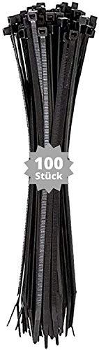 djb, extra hochwertige Profi Kabelbinder schwarz 430 x 4,8 mm, Industrie-Qualität, 100 Stück, Länge über 400mm, über 40cm