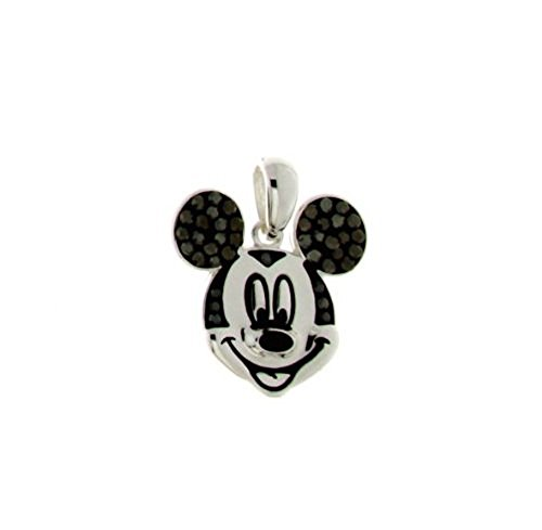 Disney Mickey Mouse Silver Tone Black Crystal Head Pendant