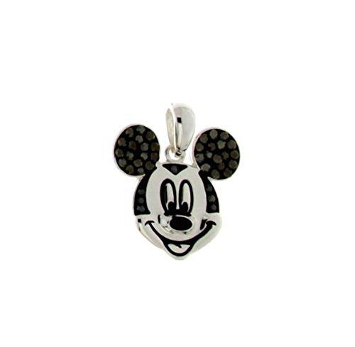 Disney Mickey Mouse Silver Tone Black Crystal Head Pendant