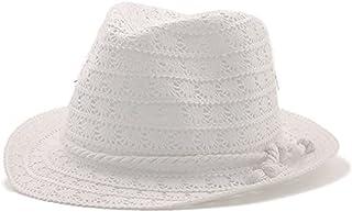 Wxcgbnstym قبعة الشمس، قبعات الصيف النساء فارغة الشمس الرجال شاك القبعات الفتيات قبعات شاطئ خمر (اللون: أبيض)