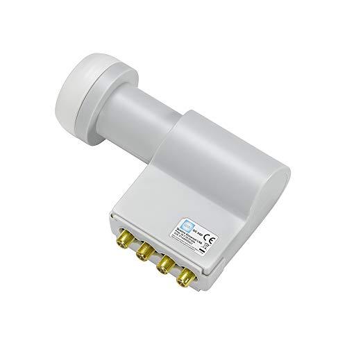 Wisi Universal Speisesystem Quattro-LNB OC04D in Lichtgrau – LNB mit 40mm Feeddurchmesser für Multischalter-Anlagen oder Kanalaufbereitungen, 73791