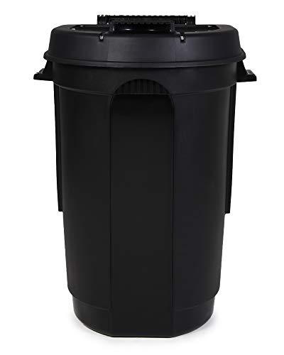 Ondis24 Gartentonne mit 2 Rädern, Mülltonne 110 Liter Volumen, Abfalltonne mit weit öffnendem Deckel, Outdoor Mülleimer (Anthrazit)