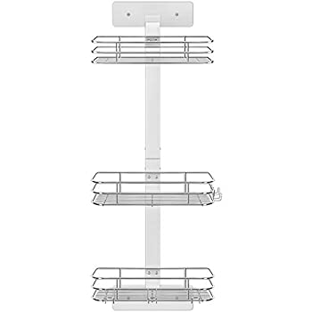 Nieifi Shower Caddy Shelf Stainless Steel Rust Proof and Adhesive with Hooks Bathroom Silver 3 Tier