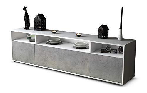 Stil.Zeit TV Schrank Lowboard BIANCA, Korpus in Weiss Matt/Front in morderner Beton Optik (180x49x35cm), mit Push-to-Open Technik, Made in Germany