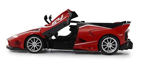 Jamara 405169 Ferrari FXX K Evo 1:14 Tür manuell 2,4GHz - offiziell lizenziert, 1 Std Fahrzeit, ca. 11 Kmh, perfekt nachgebildete Details, detaillierter Innenraum, LED Licht, rot