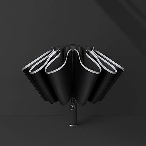 Paraguas Paraguas Reflex Automático Seguridad A Prueba De Viento Lámpara Fluorescente Led con Protección UV Parasol Negro