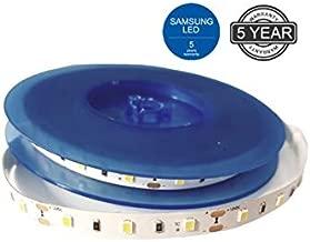 Best Quality 2835 - Tira de luces LED flexible (CC 12 V, Samsung, 600 ledes, 9,6 W/m, 1200 lm, 3000 K, luz blanca cálida)