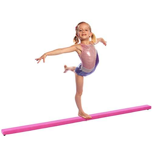 Giantex 8FT Folding Floor Balance Beam for Girls, Boys, Toddlers, Teens Sports Gymnastics Skill Performance Training Easy Storage (Pink)
