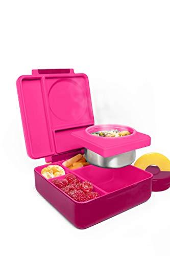 Omiebox Bento Butterbrotdose mit Thermosflasche für Kinder Pink Berry