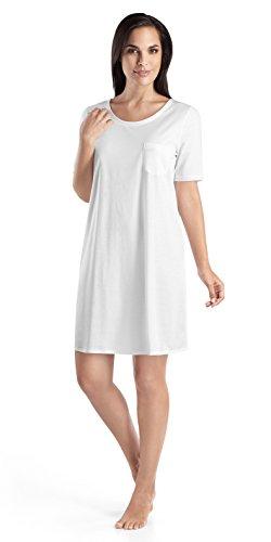 HANRO Damen Nachthemd 1/2 Arm 90 cm Cotton Deluxe Nachthemd, Weiß (white 0101), 42/44 (Herstellergröße: M)