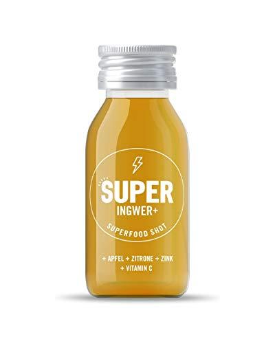 SUPER INGWER+ SHOT | 25% Ingweranteil, 14 x 60 ml Glasflasche, VITAMIN C + Zink, geprüfte Zutaten, Immunsystem stärken, Ingwer-Zitrone-Apfel Geschmack, plastikfrei