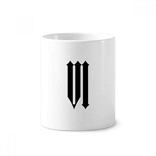 DIYthinker Romeinse cijfers Zes In Zwart silhouet Keramische Tandenborstel Pen Houder Mok Wit Cup 350ml Gift 9,6 cm hoog x 8,2 cm diameter