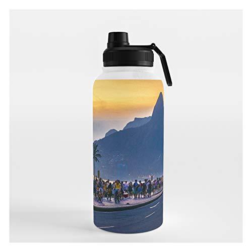 Society6 Ipanema Beach, Rio De Janeiro, Brazil by Dflc Prints on Water Bottle - 32 oz 946 mL - Sport Lid
