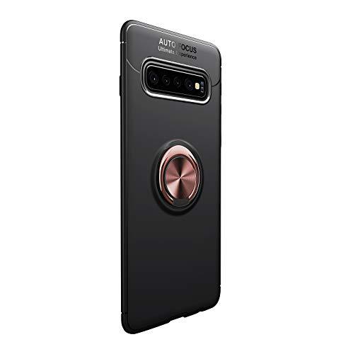 Funda para Samsun Galaxy vS10 Plus Teléfono Móvil Silicona Bumper Case Funda con Anillo Giratorio de 360 Grados Rotaria Ring Holder Protectora Caso(Negro + Oro, Samsung Galaxy S10 Plus)