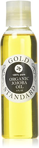 Organic Jojoba Oil 4 Ounce Pure Golden Cold Pressed Unrefined No Hexane Moisturizer for Face Skin Body Hair Nails Carrier Base Oil by Gold Standard