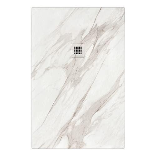 Piatto doccia in marmoresina effetto marmo bianco Rock Calacatta (70 x 100)