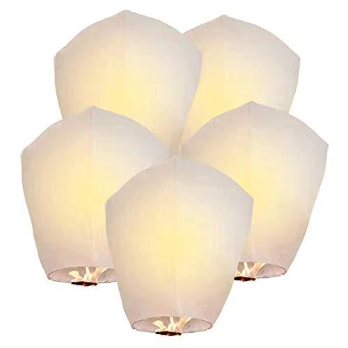 Lot de 5 lanternes chinoises écologiques pour Noël, Nouvel An, Nouvel An chinois, mariages et fêtes, 100 % biodégradables, Blanc