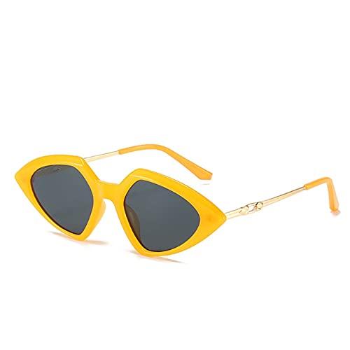 Pequeño marco Triángulo Gafas de sol Damas Moda Moda Triángulo Ocean Oceet Piece Metal Sunglasses Street Shooting Internet Exagerado Internet Celebrity Anchor (Color : A)