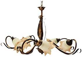 Ilab - Lámpara de techo de 5 luces, de hierro forjado, montaje de 5 bombillas E14 con casquillo pequeño máx. 40 W, diámetro: 70 cm, altura mínima: 80 cm, altura máxima: 130 cm ajustable
