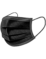 OptiTect 50 pcs disposable face mask black a 3 Ply face mask with comfortable ear loop and nose clip on sealed box - disposable mask black
