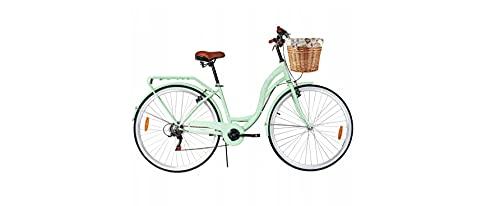 BDW Bicicleta de ciudad y trekking para mujer, de 28 pulgadas, para ciudad, trekking, 6 velocidades Shimano, cesta, color verde
