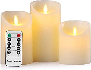 Aku Tonpa Flameless Candles Battery Operated Pillar Real Wax Electric LED Candle Sets with Remote Control Cycling 24 Hours Timer 4  5  6  Pack of 3