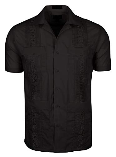 TrueM Men's Short Sleeve Cuban Guayabera Shirts (Black, Small)