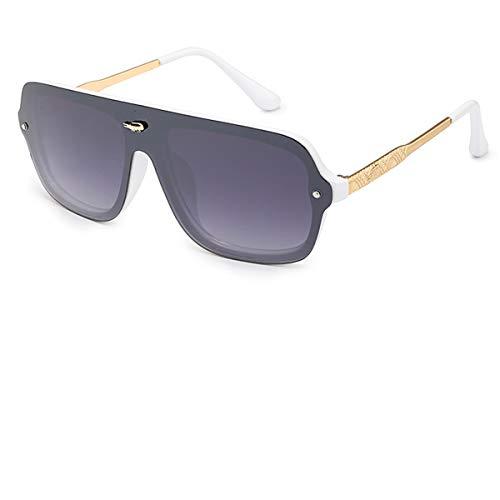 Gafas de sol deportivas, gafas de sol vintage, NEW Luxury Oversized Sunglasses Women Men Mirror Sun Glasses Oculos Lunette De Sol Feminino Gafas Mujer Hombre White Grey