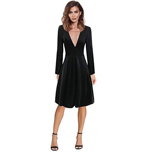 Janly - Vestido de novia elegante para mujer, sexy, casual, cuello en V, manga completa, faja plegable, vestido ajustado para el día de San Valentín, negro, XL