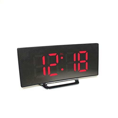 LovePlz Despertador - Dormitorio Reloj Despertador Digital con Números Grandes Y Fácil De Configurar Pantalla LED Curvada Regulable para Niños para Dormitorio, Mesita De Noche, Oficina Rojo
