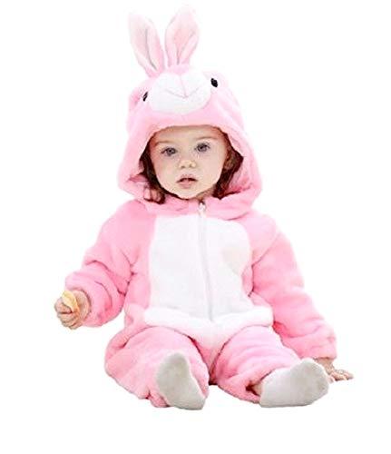 Pyjama Kaninchen rosa - Pyjamon - Mädchen - ohne Füße - Fleece - Karneval - Kostüm - warme Overall - Größe 70 cm - Geschenkidee zum Geburtstag